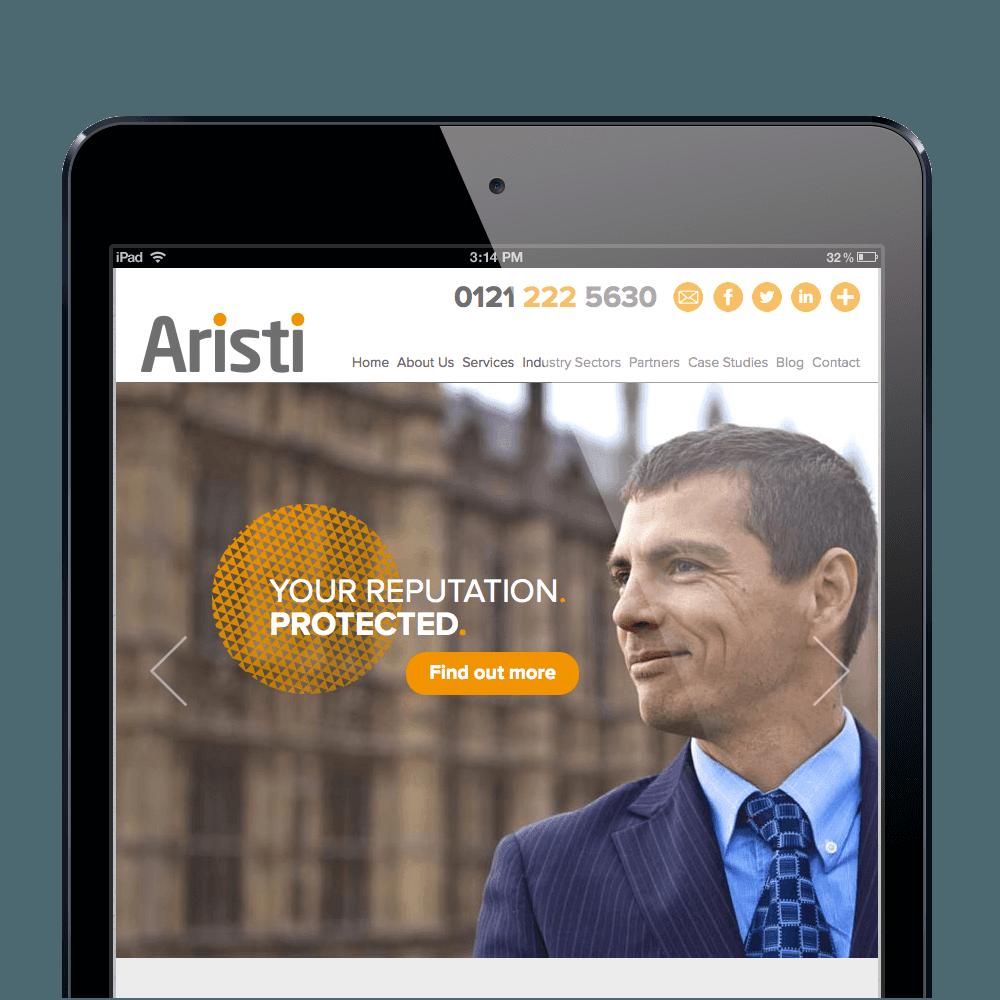 Mobile website design for Birmingham based Aristi