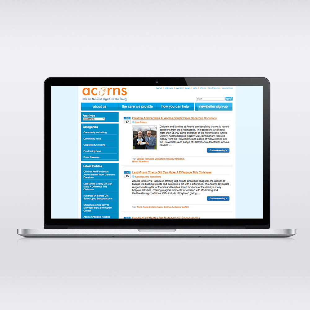 Acorns WordPress Blog Development