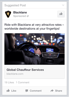 Facebook Ad suggested post example
