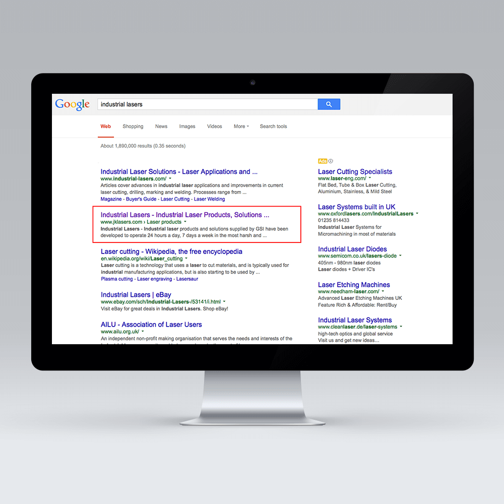 SPI Lasers (formally JK Lasers) organic search rankings by SEO agency Opace