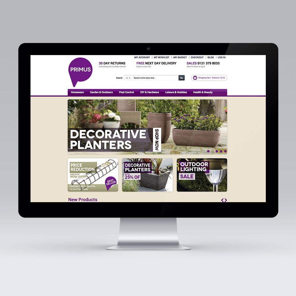 eCommerce web design design and development for homewares retailer PRIMUS by Birmingham based Magento agency, Opace
