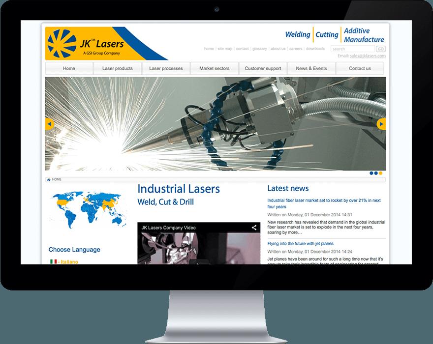 JK Lasers Joomla Bespoke Design
