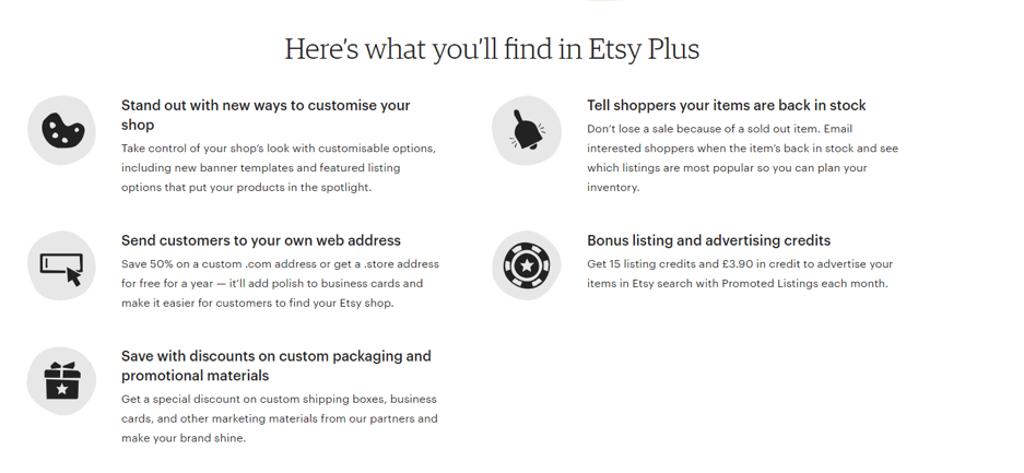 what you will find in etsy plus