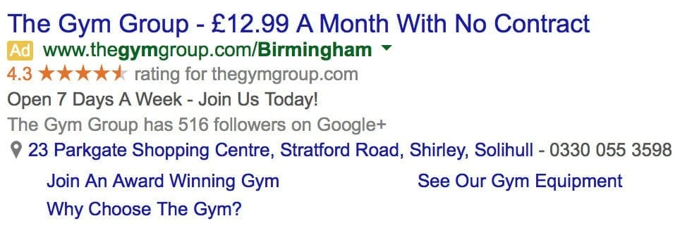 Example Google Starred Ratings Paid Adverts