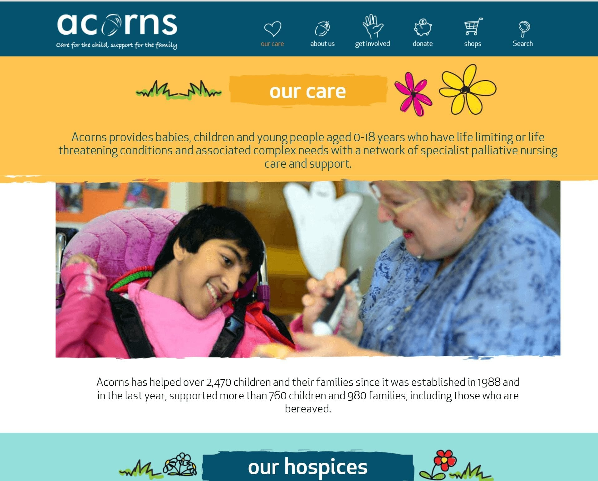 Acorns our care page