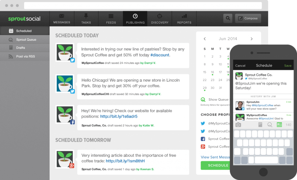 An example dashboard from Sprout Social