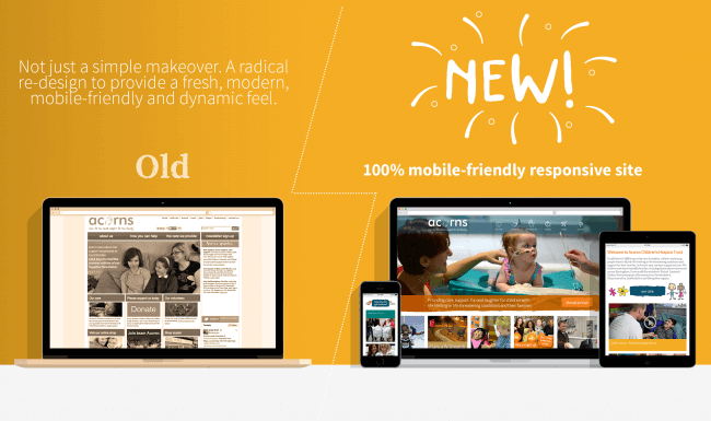 2010 to 2015 transition of Acorns website