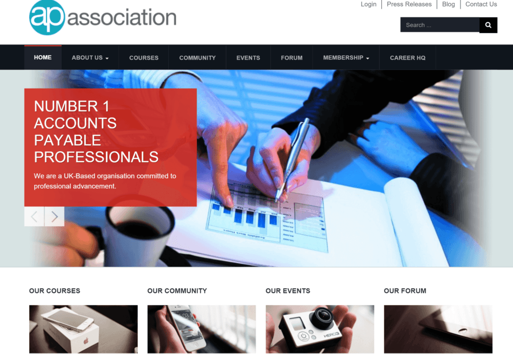 Joomla website design for Accounts Payable Association