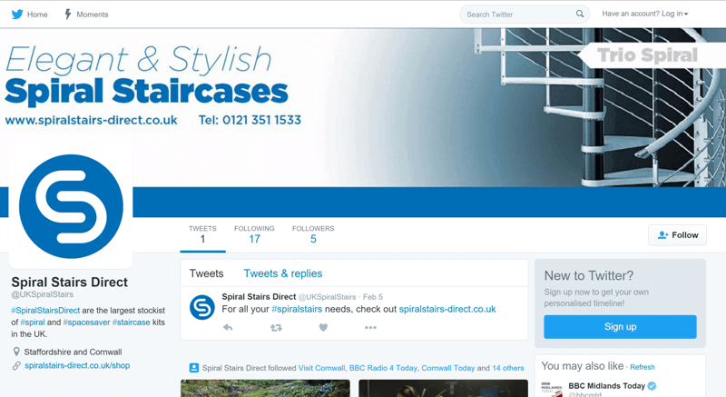 Social Media Branding and Design for Spiral Stairs Direct