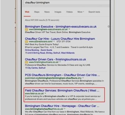 Field Chauffeur Services Google Keyword Search