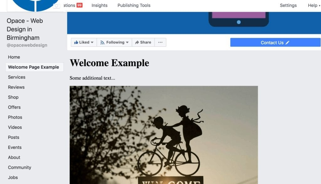 Updated Facebook tab (welcome page)