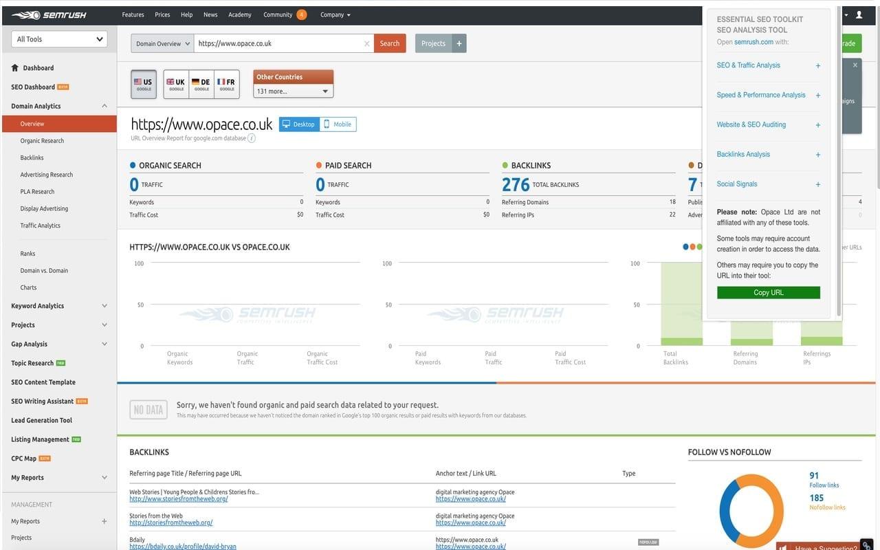 Opace Essential SEO Toolkit (SEO Analysis Tool) Chrome Extension SEMRush 1280