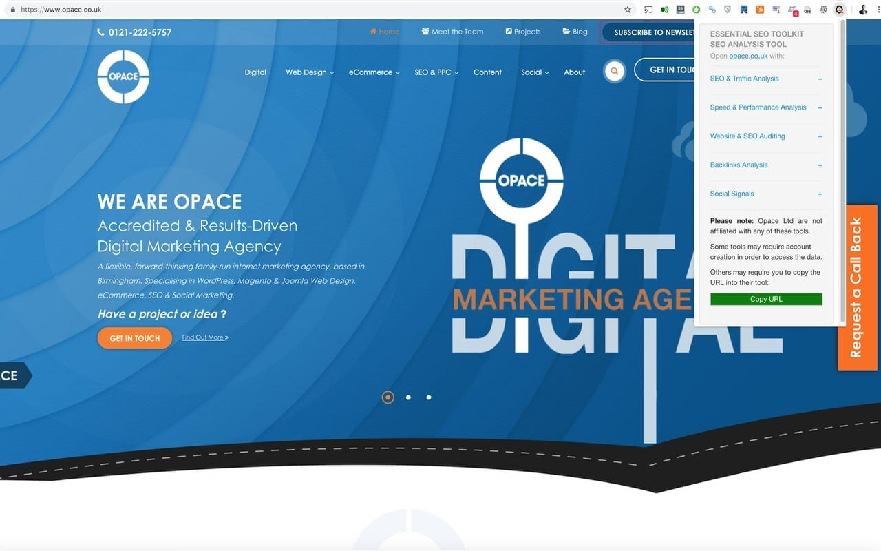 Opace Essential SEO Toolkit (SEO Analysis Tool) Chrome Extension popup
