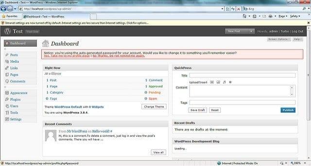 wordpress dashboard basics for beginners