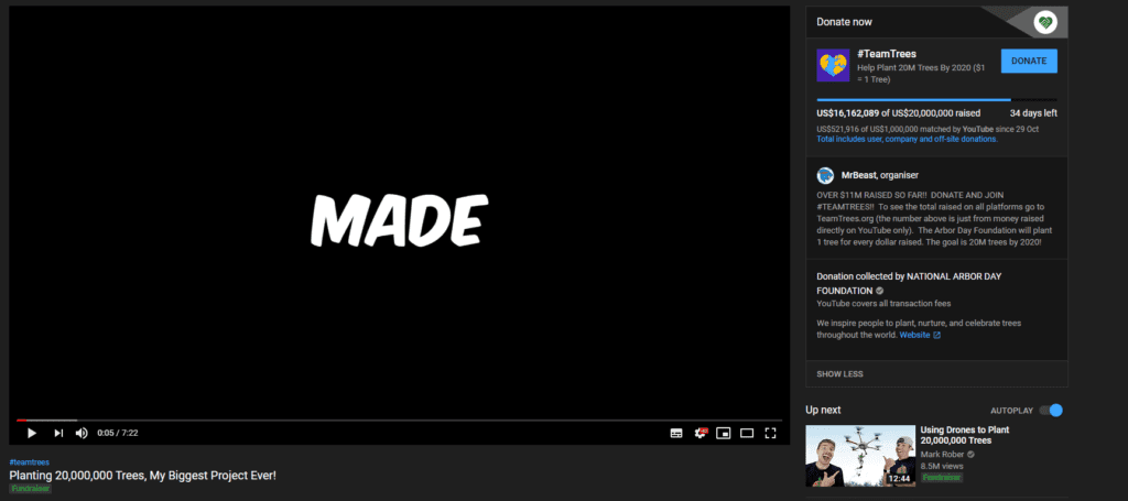YouTube channel MrBeast is raising money via YouTube